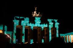 BRANDENBURG PORT, BERLIN - Oktober 14, 2017: Festival av ljus Arkivbild