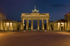 The Brandenburger gate. Night image of Brandenburger gate, one of the symbols of Berlin royalty free stock photo