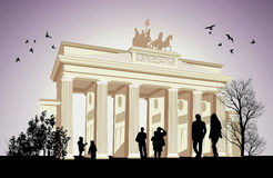 The Brandenburger Tor with birds Stock Photography