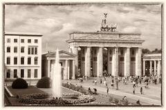 Brandenburg Gate, Berlin, Retro style. Old Postcard style: Carriage driver in front of the Brandenburger Tor - Brandenburg Gate royalty free stock images