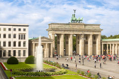 Brandenburg Gate and Pariser Platz with fountain, Berlin, Germany stock image