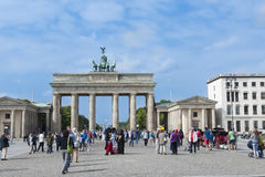 Brandenburg Gate, Berlin. Brandenburger Tor - Brandenburg Gate - in Berlin and Pariser Platz. At the time of the DDR the gate was closed and was part of the wall stock images
