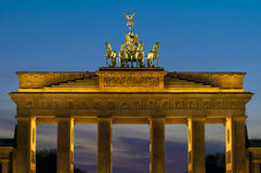 The Brandenburger Tor. (Brandenburg Gate) in the evening in Berlin, Germany Royalty Free Stock Photos