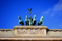 Brandenburger Tor. The Quadriga staue at the top of Brandenburger Tor in Berlin, Germany stock photography
