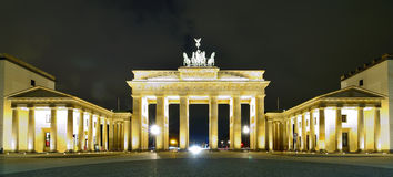 Brandenburger tor in berlin. Panorama with brandenburger tor in berlin, germany, at night stock images