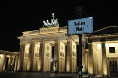 Brandenburger Tor in Berlin. At night Royalty Free Stock Photos