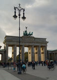 Brandenburger Tor. In Berlin with tourists Stock Image