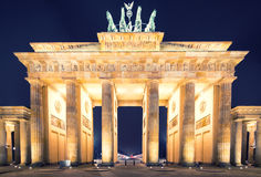 Brandenburger Tor (Brandenburg Gate) panorama, famous landmark in Berlin Germany night Stock Photography