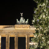 Brandenburger tor with christmas tree Stock Photo