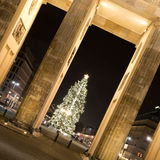 Brandenburger tor and christmas tree Royalty Free Stock Photography
