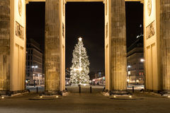 Brandenburger tor and christmas tree Stock Photo