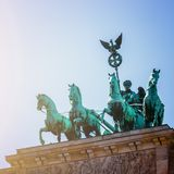 The Brandenburger Tor, Brandenburger Gate in Berlin, Germany. Tourist attraction. Front picture of the Brandenburger Gate in Berlin, Germany in summer time tor stock photography