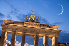 Brandenburger tor with moon and stars Royalty Free Stock Photography