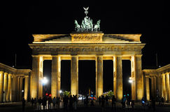 Brandenburger Tor at night. At night at Brandenburger Tor, a symbol for the german reunification. Photo was taken in august 2011 stock photo