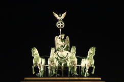 Brandenburger Tor at Night. Berlin: Brandenburger Tor at Night - the statue of the four horses stock photo