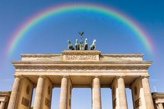 Brandenburger tor and rainbow in berlin Royalty Free Stock Images