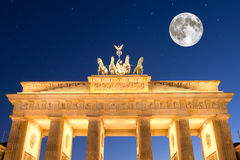 Brandenburger tor with stars and moon Royalty Free Stock Image