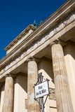 Brandenburger Tor and street sign Royalty Free Stock Photo