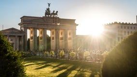 Brandenburger tor and sun. Brandenburger tor at pariser platz in berlin and sunlight Stock Photography