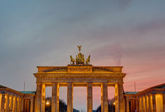 The Brandenburger Tor after sunset Stock Photo