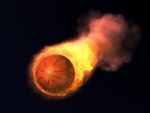 Brandend Basketbal Stock Foto