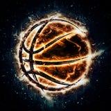Brandend basketbal Stock Fotografie