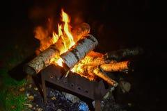 Brandend berkbrandhout stock fotografie