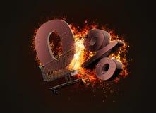 Brandend boodschappenwagentje en het rode nul teken van de percentagekorting 3d Stock Afbeeldingen