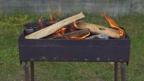 Brandend brandhout in de grill stock footage
