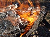 Brandend brandhout in de open haard dicht omhoog stock foto's