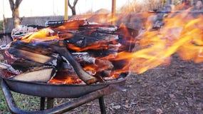 Brandend brandhout op de barbecue stock foto's