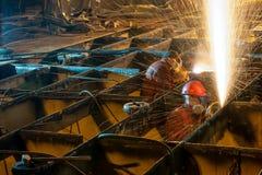 Brandend dek van een schip Royalty-vrije Stock Foto