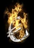 Brandend Euro Teken Stock Afbeeldingen