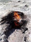 Brandend gas uit de grond royalty-vrije stock fotografie