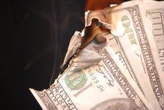Brandend geld Royalty-vrije Stock Afbeelding