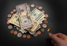 Brandend geld Royalty-vrije Stock Foto's
