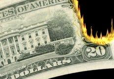 Brandend Geld! Stock Afbeeldingen