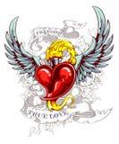 Brandend hart met vleugels Stock Foto