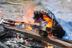 Brandend hout Stock Afbeelding