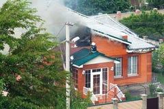 Brandend huis Royalty-vrije Stock Foto's