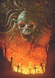 Brandend kerkhof in het schedelhol stock illustratie