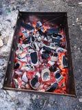 Brandend steenkolen en brandhout op de grillrooster Voorbereiding van steenkool voor barbecue in de open grill Het concept van stock afbeeldingen