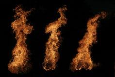 Brandend vuur bij nacht Stock Foto