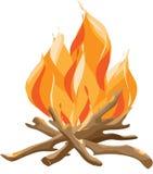 Brandend Vuur met Hout De vectorillustratie van de beeldverhaalstijl van vuur royalty-vrije illustratie