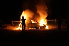Brandende Auto Royalty-vrije Stock Afbeeldingen