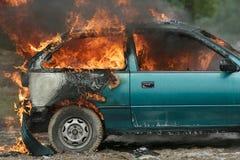 Brandende auto Stock Afbeeldingen