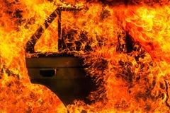Brandende auto na ongeval Stock Foto