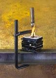 Brandende bankschroef en harde schijven Stock Afbeeldingen