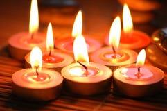 Brandende bemerkte kaarsen Royalty-vrije Stock Foto