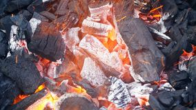 Brandende brand en hete steenkolen stock videobeelden